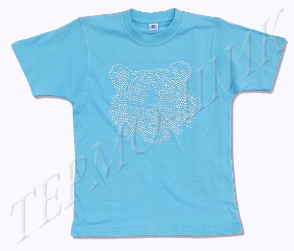 голубая футболка с головой тигра из страз