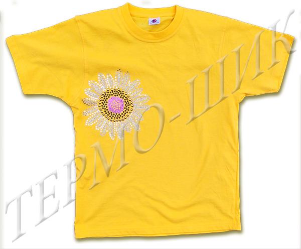 Жёлтая футболка с солнышком из страз и флока