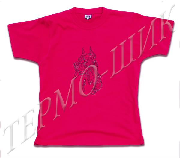 Красная футболка с догом из страз