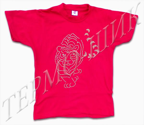 Красная футболка с тигром из страз
