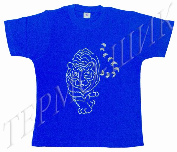 Синяя футболка с тигром из страз