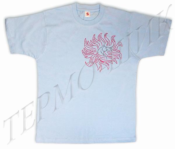 Голубая футболка с лошадью-солнцеворотом из страз