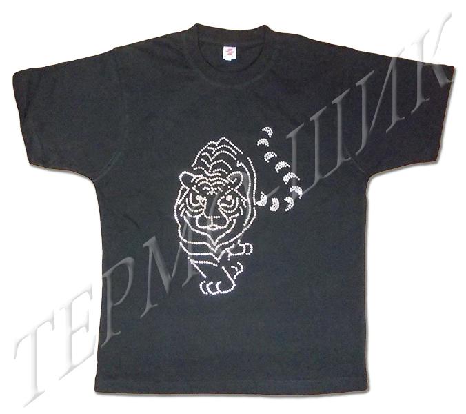 Чёрная футболка с тигром из страз