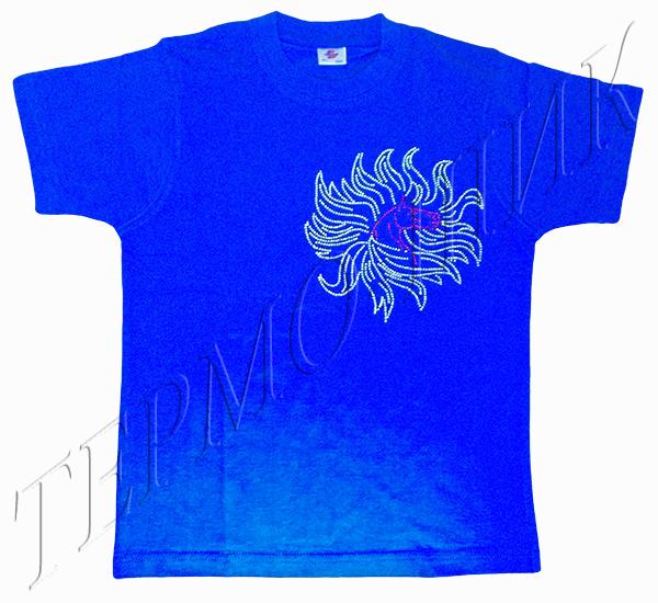 Синяя футболка с лошадью-солнцеворотом из страз