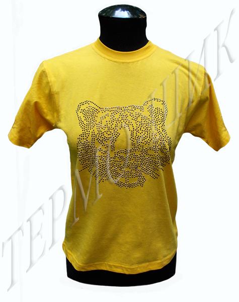 Жёлтая футболка с тигром из страз